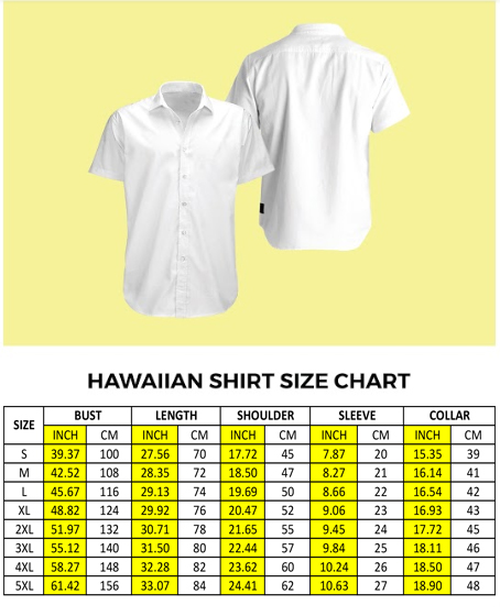 hawaiian shirt size chart